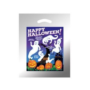 Halloween Stock Design Silver Reflective Die Cut Bag � Ghosts w/Pumpkins