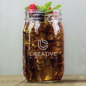 16 Oz. Mason Jar Glass w/Laser Etched Logo