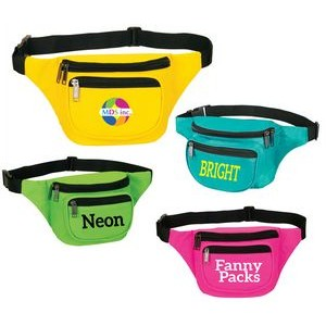 New Neon Color Three Zippered Fanny Pack